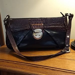 Brahmin leather bag black w/brown embossed trim